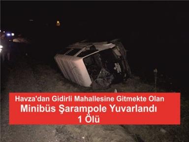 Minibüs Şarampole Yuvarlandı 1 Ölü